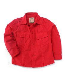 Olio Kids Full Sleeves Soild Colour Shirt - Red