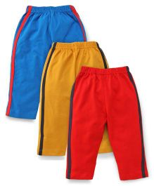 Little Full Length Track Pants Pack of 3 - Blue Red Yellow