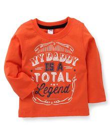 Paaple Full Sleeves T-Shirt My Daddy Is Legend Print - Orange
