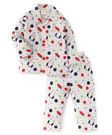 Little Full Sleeves Night Suit Planets & Spaceship Print - Beige