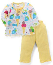 Paaple Full Sleeves Top and LeggingsNight Suit Set Ice Cream Print - White Yellow