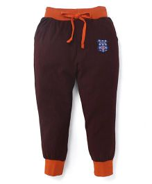 Olio Kids Printed Track Pants With Drawstring Sports 83 Patch - Brown Orange