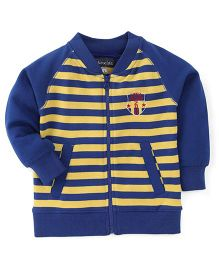 Olio Kids Raglan Sleeves Stripe Sweat Jacket Little Champ Embroidery - Royal Blue Yellow
