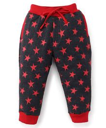 Olio Kids Track Pants With Drawstring Star Print - Dark Grey Red