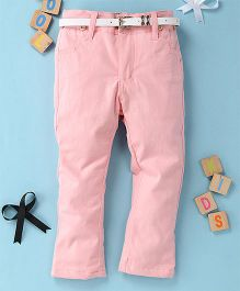 Little Star Girls Pant With Belt - Pink