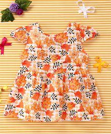 Smile Rabbit Flower Print Dress - Orange