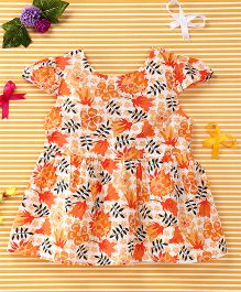 Smile Rabbit Flower Print Dress - Orange