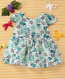 Smile Rabbit Flower Print Dress - Sea Green