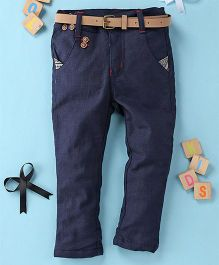 Little Star Casual Pant With Belt - Dark Blue
