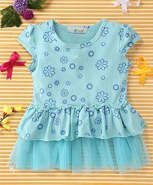 Smile Rabbit Floral Print Dress - Blue