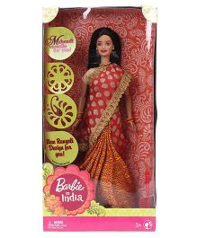 Barbie In India Doll Orange And Golden - Height 29 cm