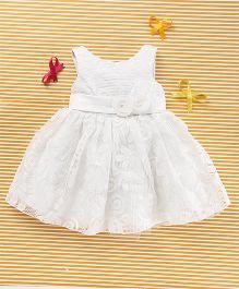 MFM Attractive Flower Applique Party Dress - White