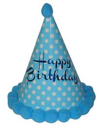 Shopaparty Happy Birthday Party Hat POla Dots - Blue