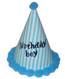 Shopaparty Striped Happy Birthday Party Hat - Blue