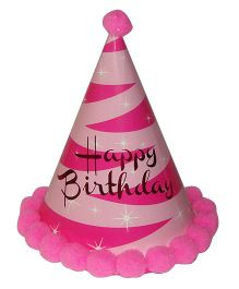 Shopaparty Twinkling Happy Birthday Party Hat - Pink