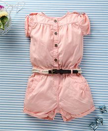 Ronoel Baby Romper With Belt - Misty Rose