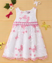 Smile Rabbit Flower Print Dress - Pink & White