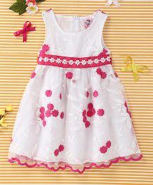 Smile Rabbit Flower Print Dress - White & Dark Pink