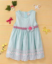 Smile Rabbit Flower Print Dress - Blue & White