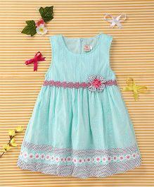 Smile Rabbit Flower Print Dress - Light Blue & White