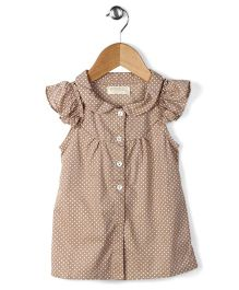 Ronoel Dot Print Dress - Copper Brown