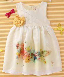 Smile Rabbit Flower Print Dress - Off White