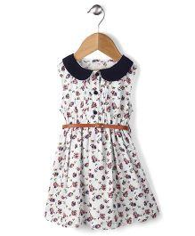 Ronoel Floral Print Dress With Belt - White & Black