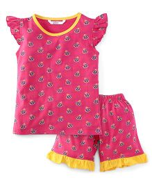 Valentine Cap Sleeves Printed Top And Shorts - Pink