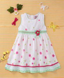 Smile Rabbit Floral Print Dress - White & Green