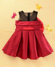 TBB Elegant Party Dress With Bow - Red & Black