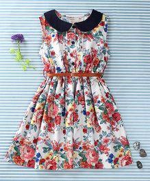 Ronoel Floral Print Sleeveless Dress- White