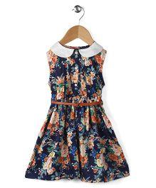 Ronoel Floral Print Sleeveless Dress - Blue