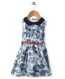 Ronoel Flower Print Dress With Belt - Black & White