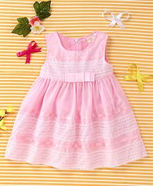 Smile Rabbit Elegant Dress With Bow - Pink