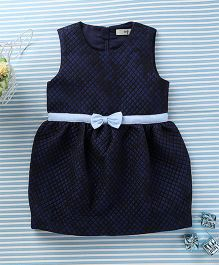In.f Kids Bow Applique Stylish Dress - Dark Blue