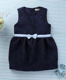 In.f Kids Bow Applique Stylish Dress - Dark Blue