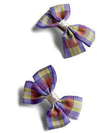 Milonee Checks Bow Clip Pair Of 2 - Lavender