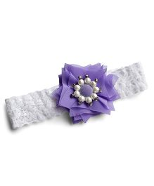 Milonee Lace Headband With Flower - White & Lavender