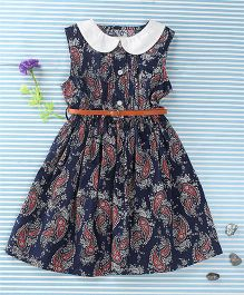 Ronoel Floral Print Dress With Belt - Navy Blue