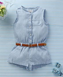 Ronoel Sleeveless Jumpsuit With Belt - Light Blue