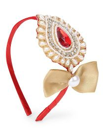 Sugarcart Rich Pearl & Studded Big Motif With Bow Hairband - Golden & Red