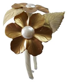 Sugarcart Flowers With Pearls And Leaves Hairband - Golden