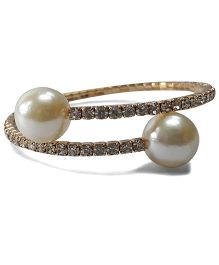 Sugarcart Rich Diamond Studded Adjustable Bracelet With Pearls - Silver Golden