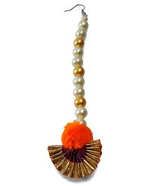 Sugarcart Traditional Gota & Pompom Maang Tikka - Golden Orange