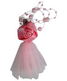 Sugarcart Rose With Pearl String & Net Hair Clip - Pink