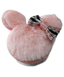 Sugarcart Fur Teddy Mouse With Checks Bow Snap Clip - Pink