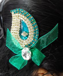 Sugarcart Ethnic Studs With Tissue Bow On Alligator Hair Clip - Sea Green