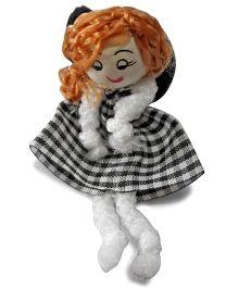 Sugarcart Checks Frock Doll Rubber Band - Black White