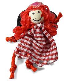 Sugarcart Samll & White Checks Doll Scrunchie - Red White
