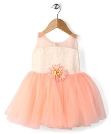 Adores Sleeveless Dress Floral Applique - Peach